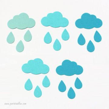 Confettis Nuages Multi Bleus