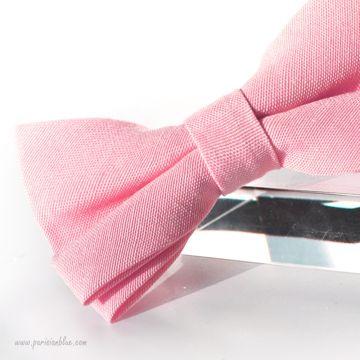 Noeud papillon en piqué de coton rose tendre