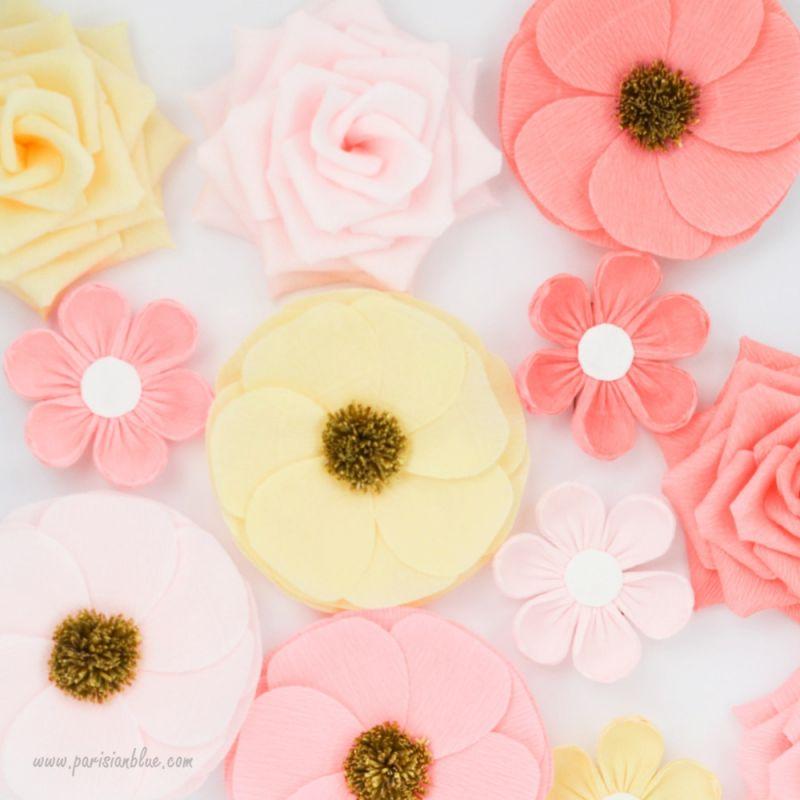 Mur fleurs arche mariage fleurs crepon decoration chambre - Pompon en papier crepon ...