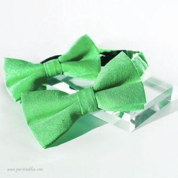 """Noeuds papillon """"Père-Fils"""" en coton vert"""