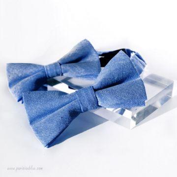 """Noeuds papillon """"Père-Fils"""" en coton Bleu jean"""