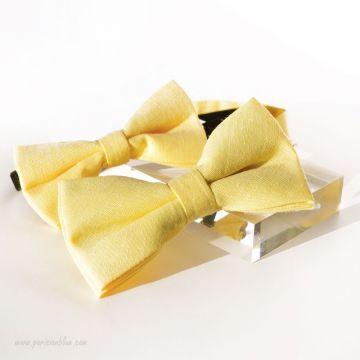 """Noeuds papillon """"Père-Fils"""" en coton jaune"""