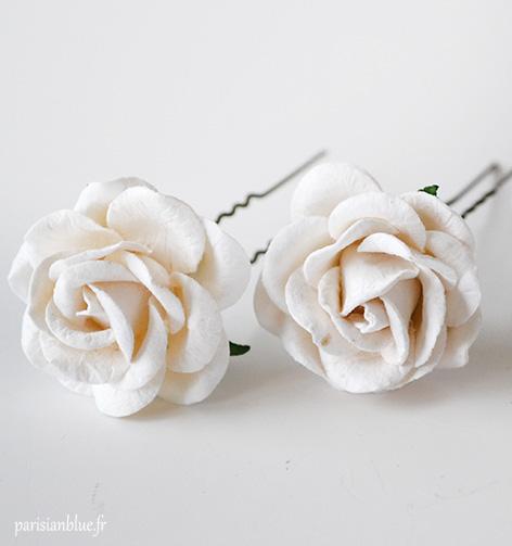 peignes fleurs blanches mariage